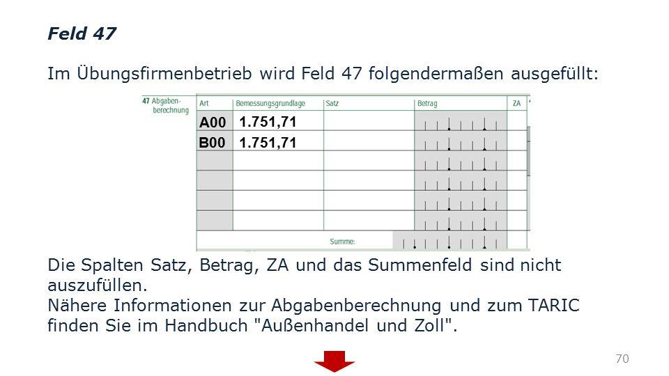 Feld 47 Im Übungsfirmenbetrieb wird Feld 47 folgendermaßen ausgefüllt: Die Spalten Satz, Betrag, ZA und das Summenfeld sind nicht auszufüllen. Nähere