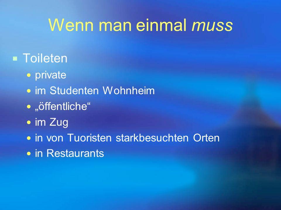 """Wenn man einmal muss  Toileten private im Studenten Wohnheim """"öffentliche"""" im Zug in von Tuoristen starkbesuchten Orten in Restaurants"""