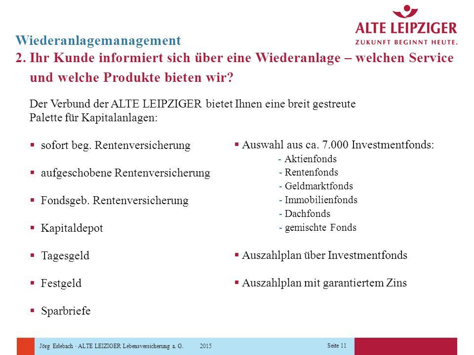 Jörg Erlebach · ALTE LEIZIGER Lebensversicherung a. G. 2015 Seite 11 2. Ihr Kunde informiert sich über eine Wiederanlage – welchen Service und welche