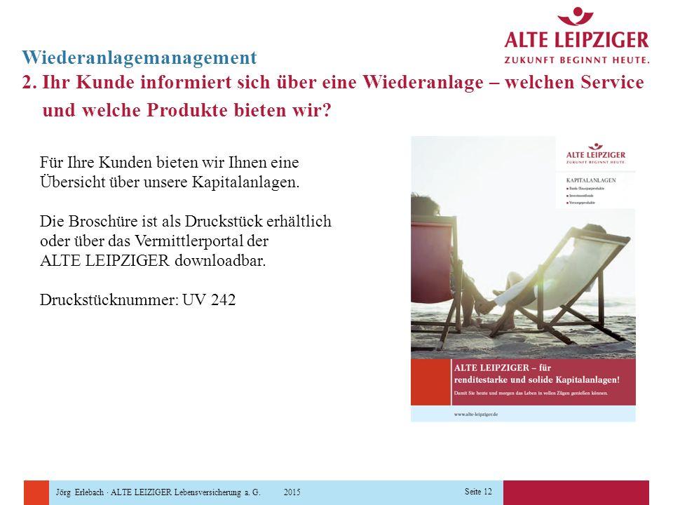 Jörg Erlebach · ALTE LEIZIGER Lebensversicherung a. G. 2015 Seite 12 Wiederanlagemanagement 2. Ihr Kunde informiert sich über eine Wiederanlage – welc