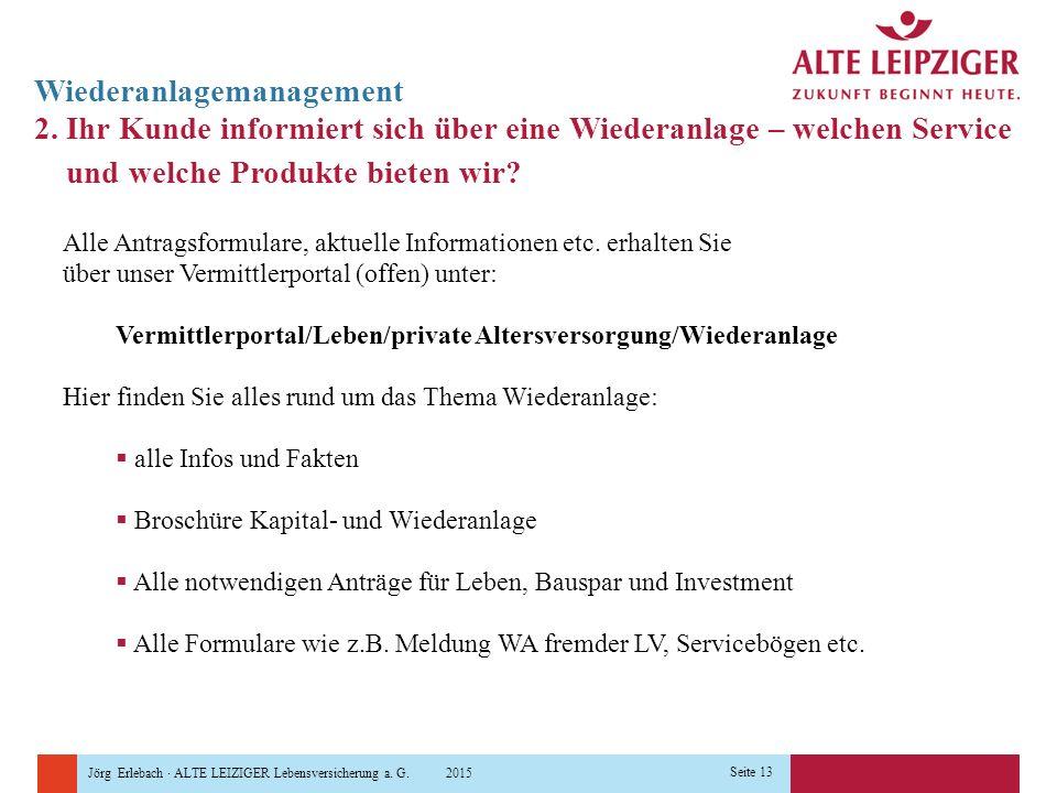 Jörg Erlebach · ALTE LEIZIGER Lebensversicherung a. G. 2015 Seite 13 Wiederanlagemanagement 2. Ihr Kunde informiert sich über eine Wiederanlage – welc