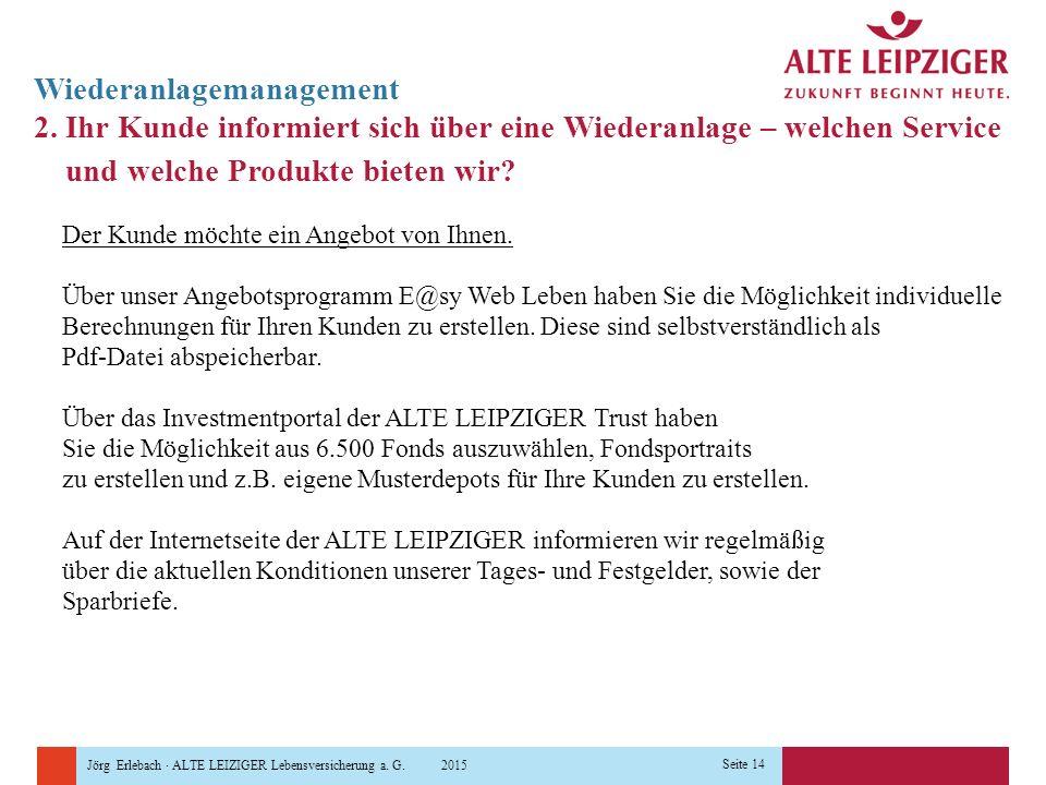 Jörg Erlebach · ALTE LEIZIGER Lebensversicherung a. G. 2015 Seite 14 Wiederanlagemanagement 2. Ihr Kunde informiert sich über eine Wiederanlage – welc