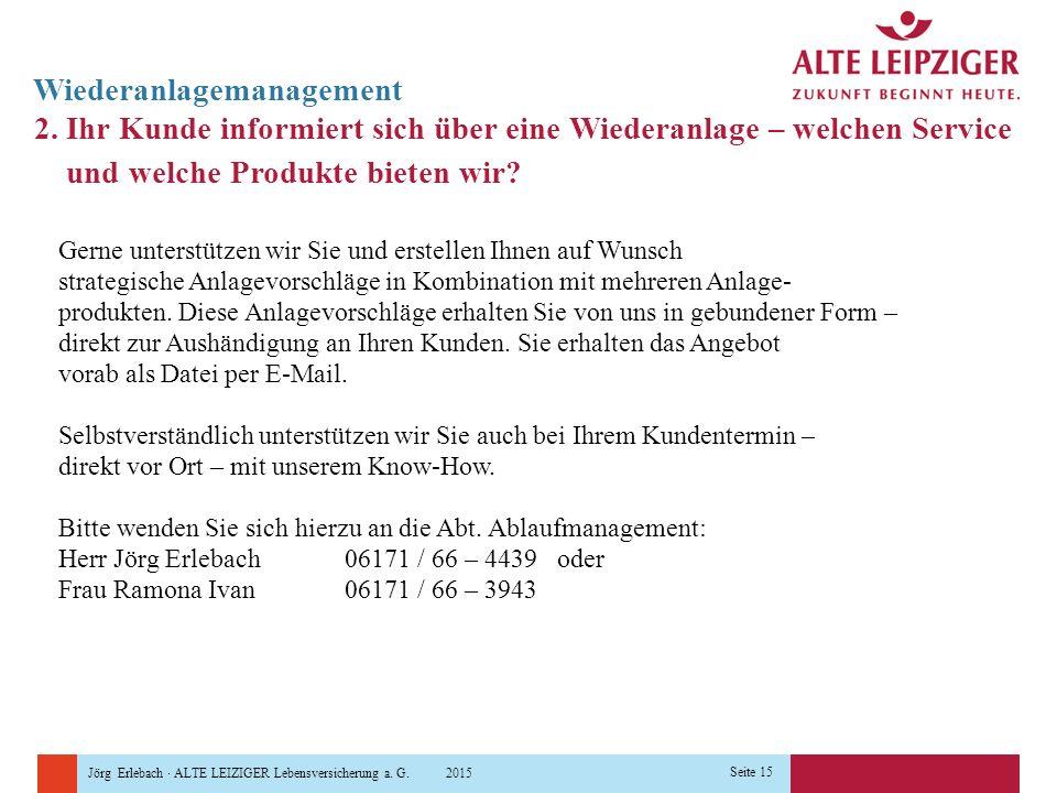 Jörg Erlebach · ALTE LEIZIGER Lebensversicherung a. G. 2015 Seite 15 Wiederanlagemanagement 2. Ihr Kunde informiert sich über eine Wiederanlage – welc