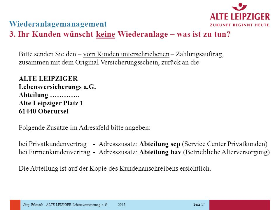 Jörg Erlebach · ALTE LEIZIGER Lebensversicherung a. G. 2015 Seite 17 Wiederanlagemanagement 3. Ihr Kunden wünscht keine Wiederanlage – was ist zu tun?