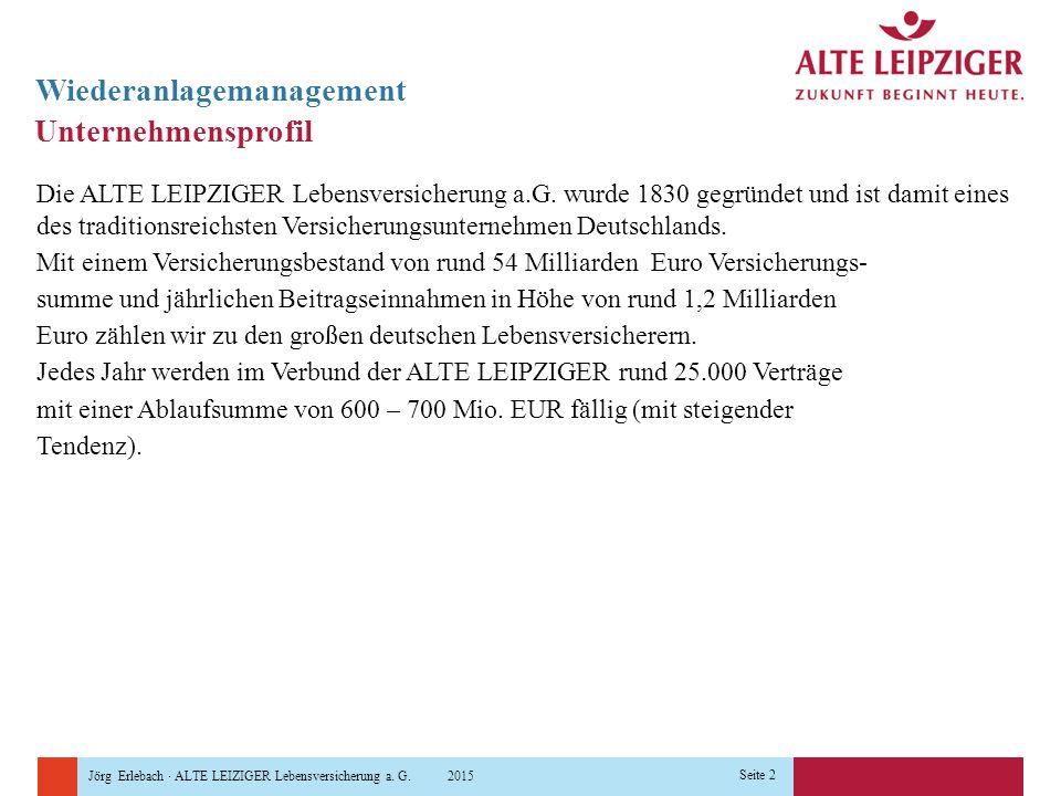 Jörg Erlebach · ALTE LEIZIGER Lebensversicherung a. G. 2015 Seite 2 Unternehmensprofil Die ALTE LEIPZIGER Lebensversicherung a.G. wurde 1830 gegründet