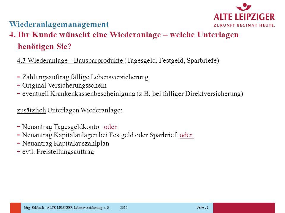 Jörg Erlebach · ALTE LEIZIGER Lebensversicherung a. G. 2015 Seite 21 Wiederanlagemanagement 4. Ihr Kunde wünscht eine Wiederanlage – welche Unterlagen