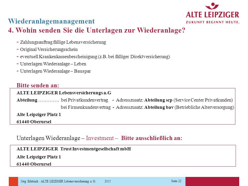 Jörg Erlebach · ALTE LEIZIGER Lebensversicherung a. G. 2015 Seite 22 Wiederanlagemanagement 4. Wohin senden Sie die Unterlagen zur Wiederanlage? - Zah