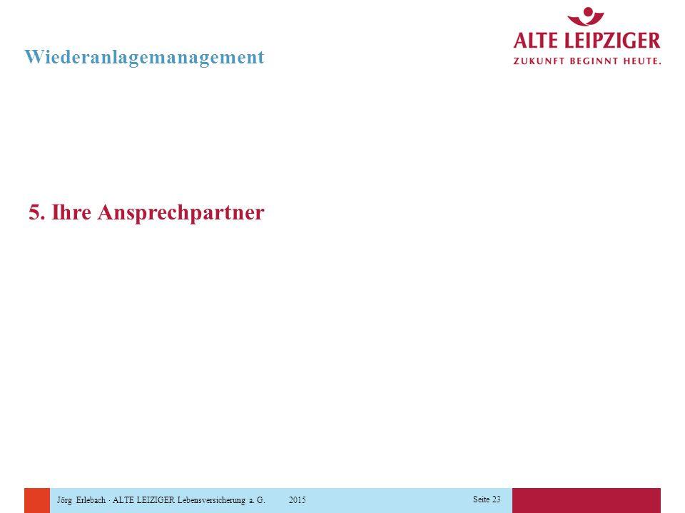 Jörg Erlebach · ALTE LEIZIGER Lebensversicherung a. G. 2015 Seite 23 Wiederanlagemanagement 5. Ihre Ansprechpartner