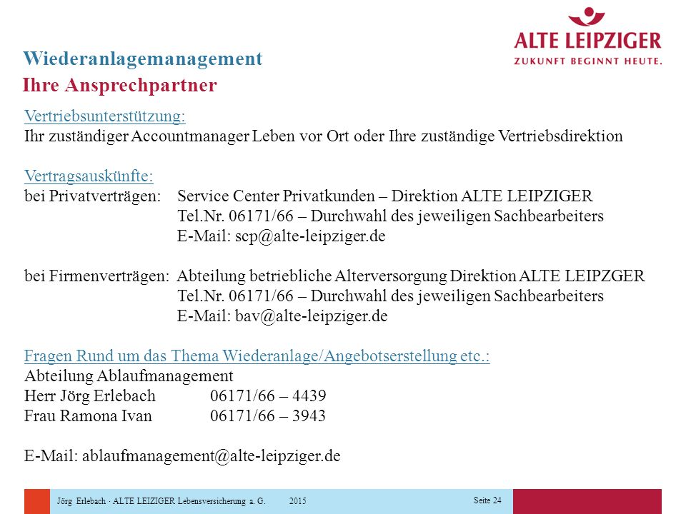 Jörg Erlebach · ALTE LEIZIGER Lebensversicherung a. G. 2015 Seite 24 Ihre Ansprechpartner Wiederanlagemanagement Vertriebsunterstützung: Ihr zuständig