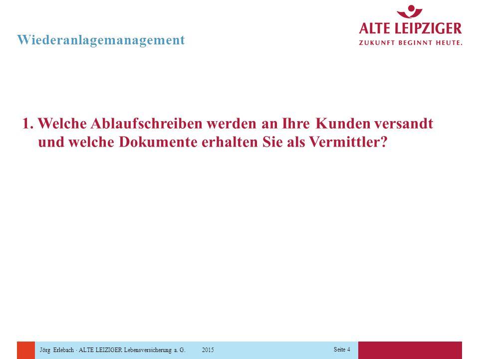 Jörg Erlebach · ALTE LEIZIGER Lebensversicherung a. G. 2015 Seite 4 Wiederanlagemanagement 1. Welche Ablaufschreiben werden an Ihre Kunden versandt un