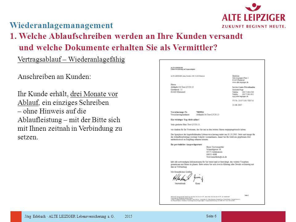 Jörg Erlebach · ALTE LEIZIGER Lebensversicherung a. G. 2015 Seite 6 Wiederanlagemanagement 1. Welche Ablaufschreiben werden an Ihre Kunden versandt un