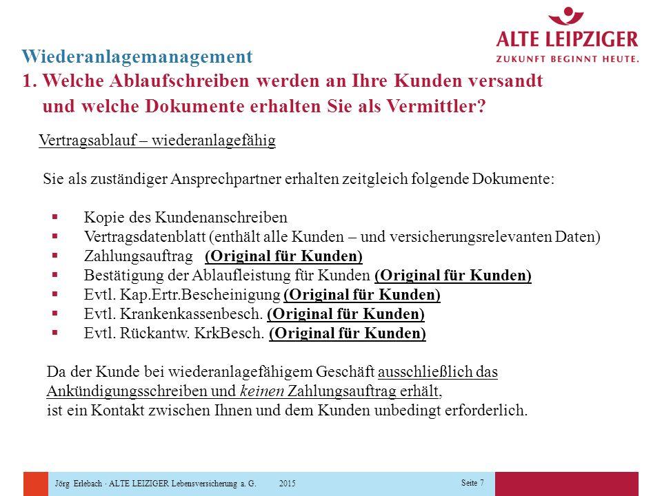Jörg Erlebach · ALTE LEIZIGER Lebensversicherung a. G. 2015 Seite 7 Wiederanlagemanagement 1. Welche Ablaufschreiben werden an Ihre Kunden versandt un