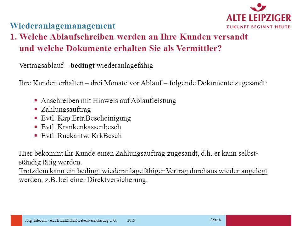 Jörg Erlebach · ALTE LEIZIGER Lebensversicherung a. G. 2015 Seite 8 Wiederanlagemanagement 1. Welche Ablaufschreiben werden an Ihre Kunden versandt un
