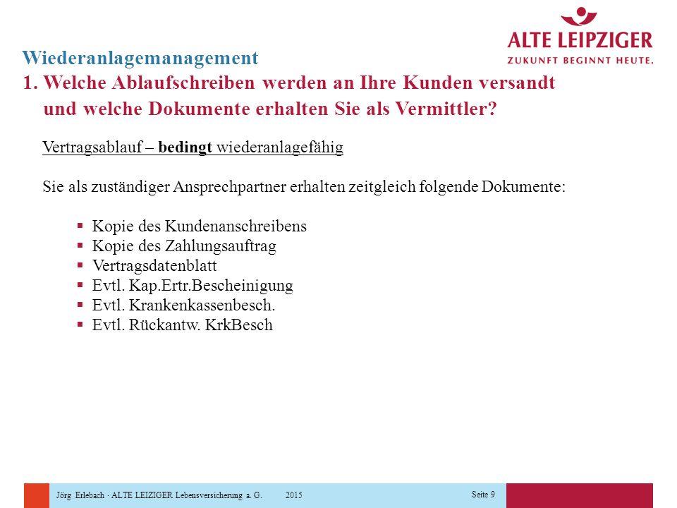 Jörg Erlebach · ALTE LEIZIGER Lebensversicherung a. G. 2015 Seite 9 Wiederanlagemanagement 1. Welche Ablaufschreiben werden an Ihre Kunden versandt un
