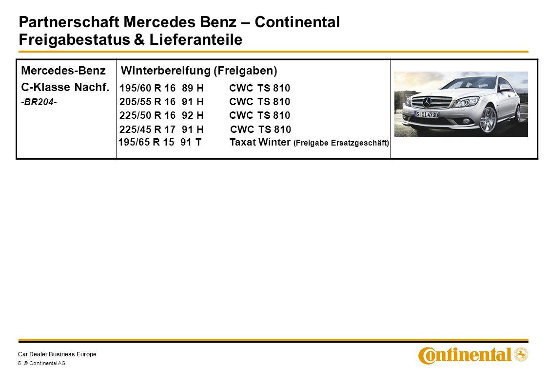 Car Dealer Business Europe Partnerschaft Mercedes Benz – Continental Freigabestatus & Lieferanteile 5 © Continental AG Mercedes-Benz C-Klasse Nachf.