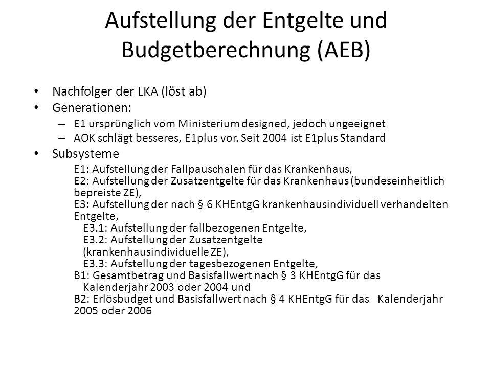 Aufstellung der Entgelte und Budgetberechnung (AEB) Nachfolger der LKA (löst ab) Generationen: – E1 ursprünglich vom Ministerium designed, jedoch ungeeignet – AOK schlägt besseres, E1plus vor.