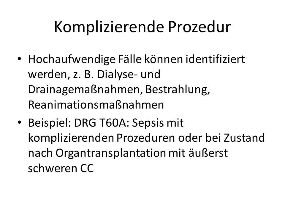 Komplizierende Prozedur Hochaufwendige Fälle können identifiziert werden, z.