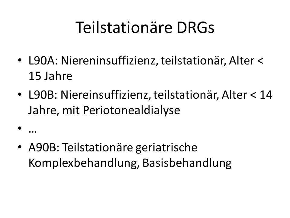 Teilstationäre DRGs L90A: Niereninsuffizienz, teilstationär, Alter < 15 Jahre L90B: Niereinsuffizienz, teilstationär, Alter < 14 Jahre, mit Periotonealdialyse … A90B: Teilstationäre geriatrische Komplexbehandlung, Basisbehandlung
