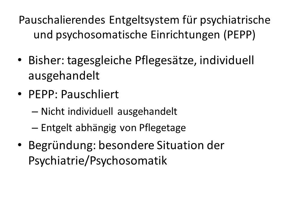 Pauschalierendes Entgeltsystem für psychiatrische und psychosomatische Einrichtungen (PEPP) Bisher: tagesgleiche Pflegesätze, individuell ausgehandelt