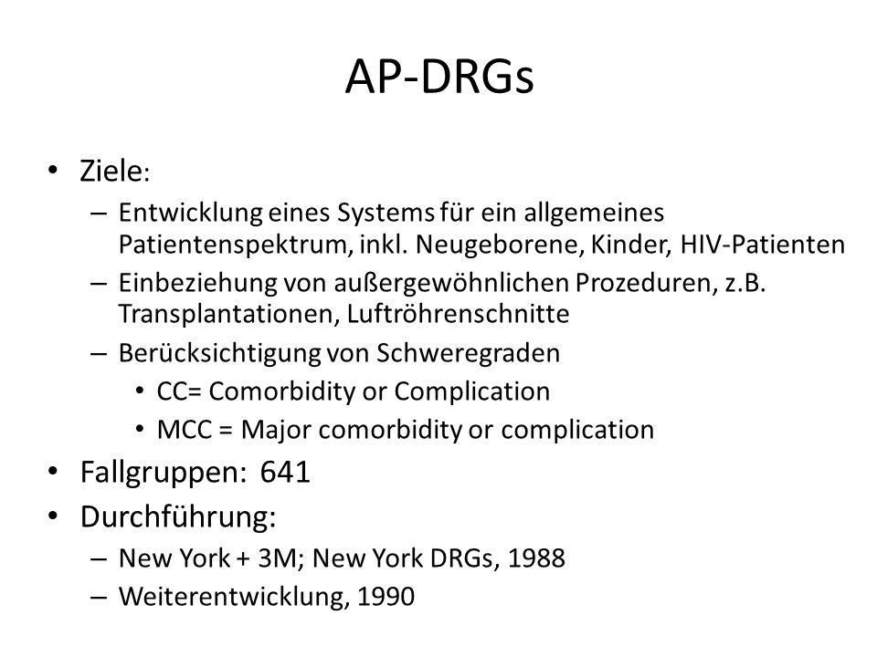 AP-DRGs Ziele : – Entwicklung eines Systems für ein allgemeines Patientenspektrum, inkl. Neugeborene, Kinder, HIV-Patienten – Einbeziehung von außerge