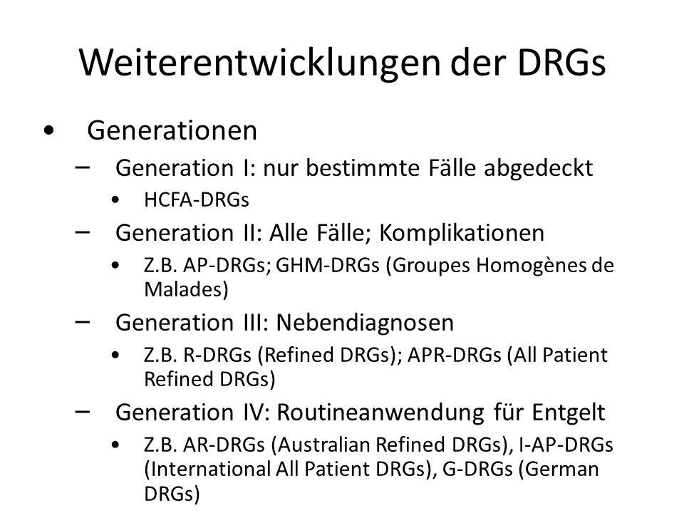 Weiterentwicklungen der DRGs Generationen – – Generation I: nur bestimmte Fälle abgedeckt HCFA-DRGs – – Generation II: Alle Fälle; Komplikationen Z.B.