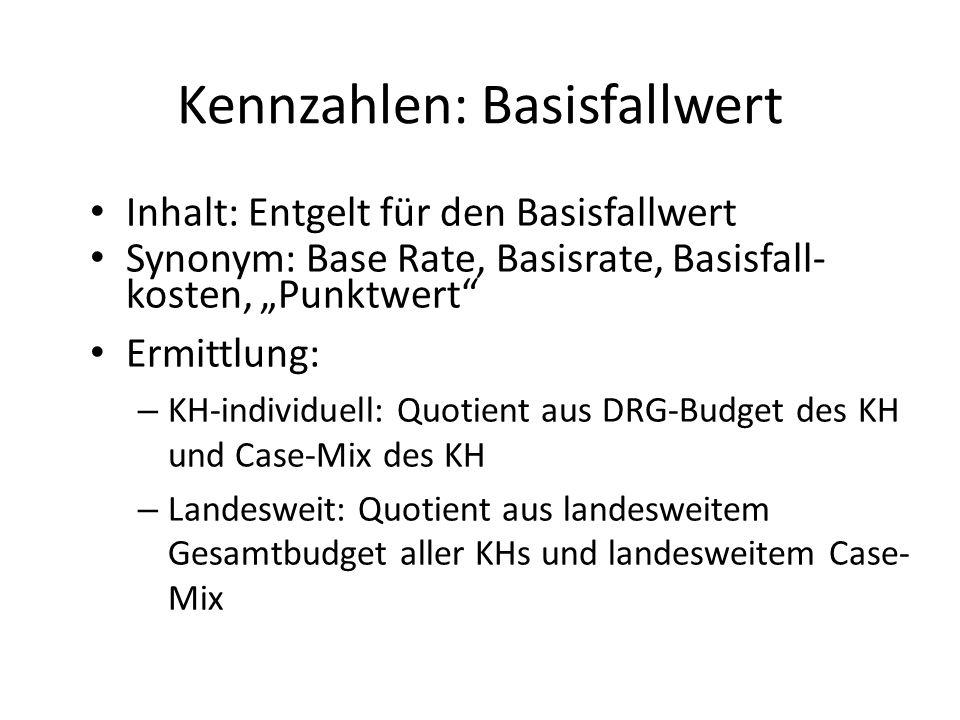 """Inhalt: Entgelt für den Basisfallwert Synonym: Base Rate, Basisrate, Basisfall- kosten, """"Punktwert"""" Ermittlung: – KH-individuell: Quotient aus DRG-Bud"""