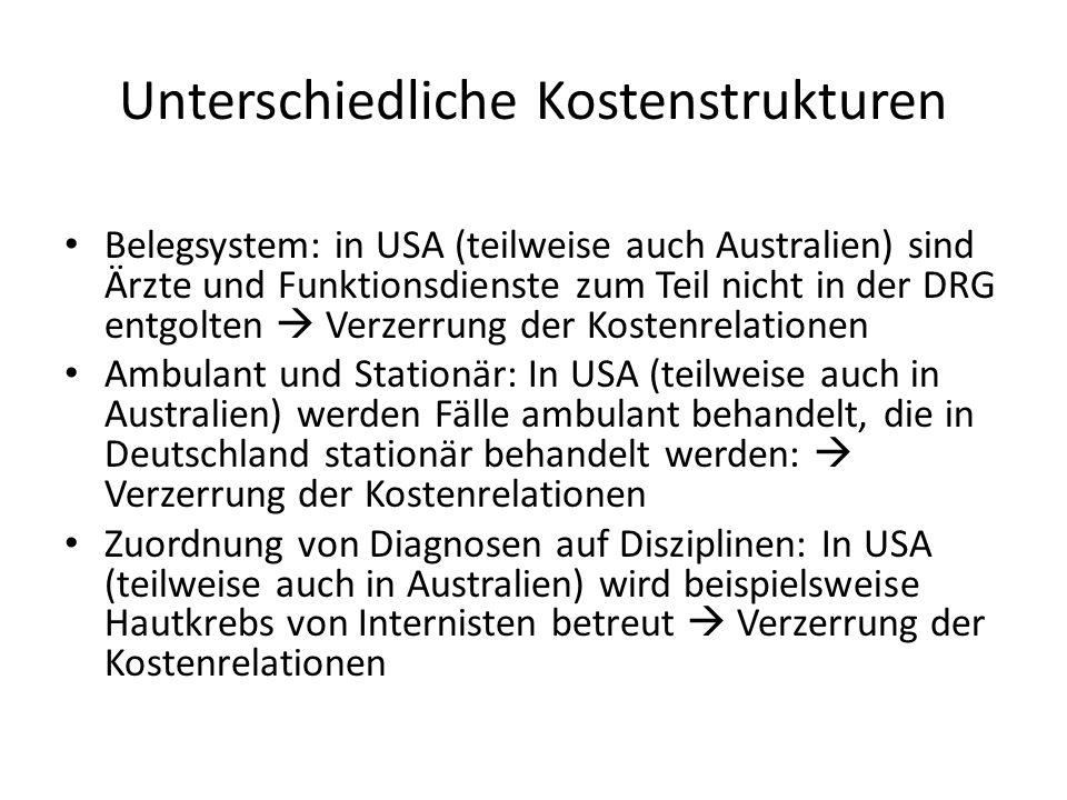 Unterschiedliche Kostenstrukturen Belegsystem: in USA (teilweise auch Australien) sind Ärzte und Funktionsdienste zum Teil nicht in der DRG entgolten