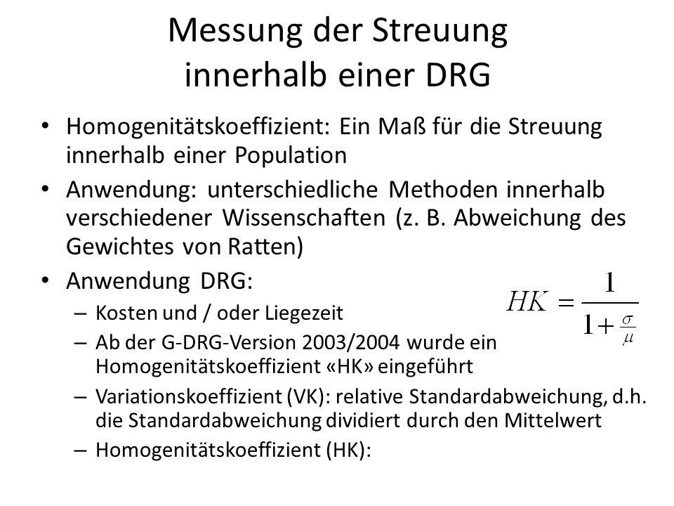 Messung der Streuung innerhalb einer DRG Homogenitätskoeffizient: Ein Maß für die Streuung innerhalb einer Population Anwendung: unterschiedliche Methoden innerhalb verschiedener Wissenschaften (z.