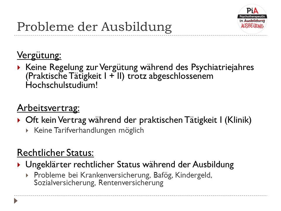 Probleme der Ausbildung Vergütung:  Keine Regelung zur Vergütung während des Psychiatriejahres (Praktische Tätigkeit I + II) trotz abgeschlossenem Hochschulstudium.