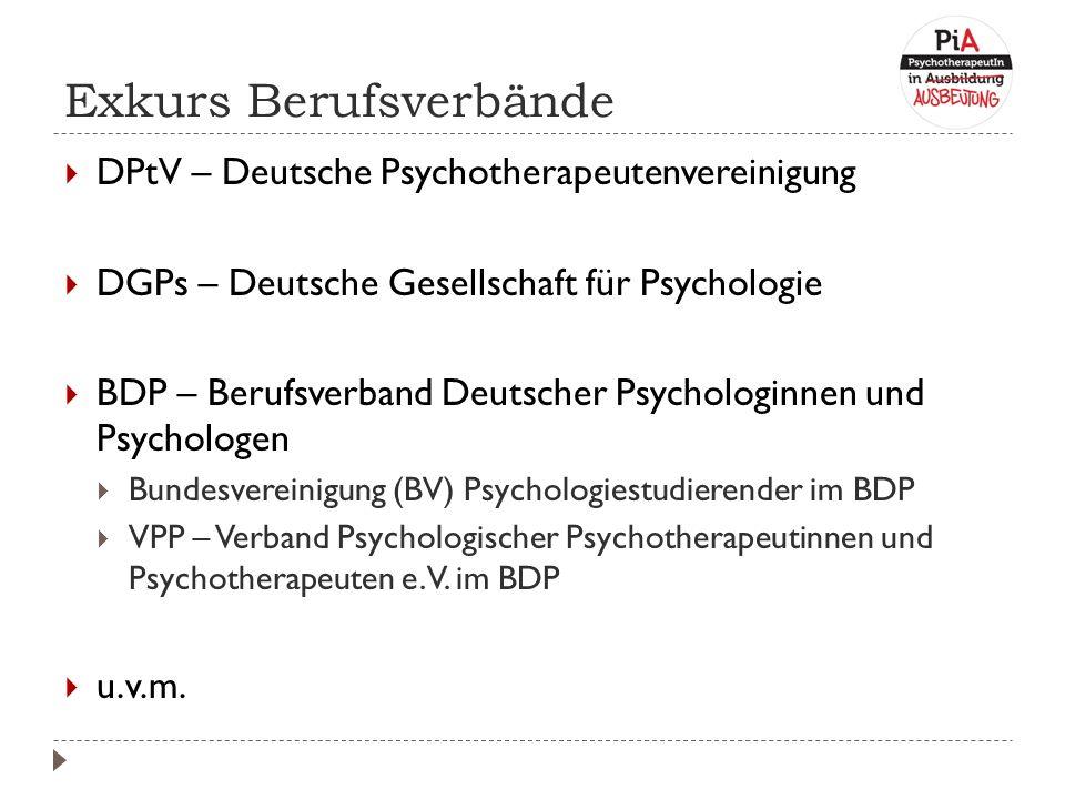 Exkurs Berufsverbände  DPtV – Deutsche Psychotherapeutenvereinigung  DGPs – Deutsche Gesellschaft für Psychologie  BDP – Berufsverband Deutscher Psychologinnen und Psychologen  Bundesvereinigung (BV) Psychologiestudierender im BDP  VPP – Verband Psychologischer Psychotherapeutinnen und Psychotherapeuten e.V.