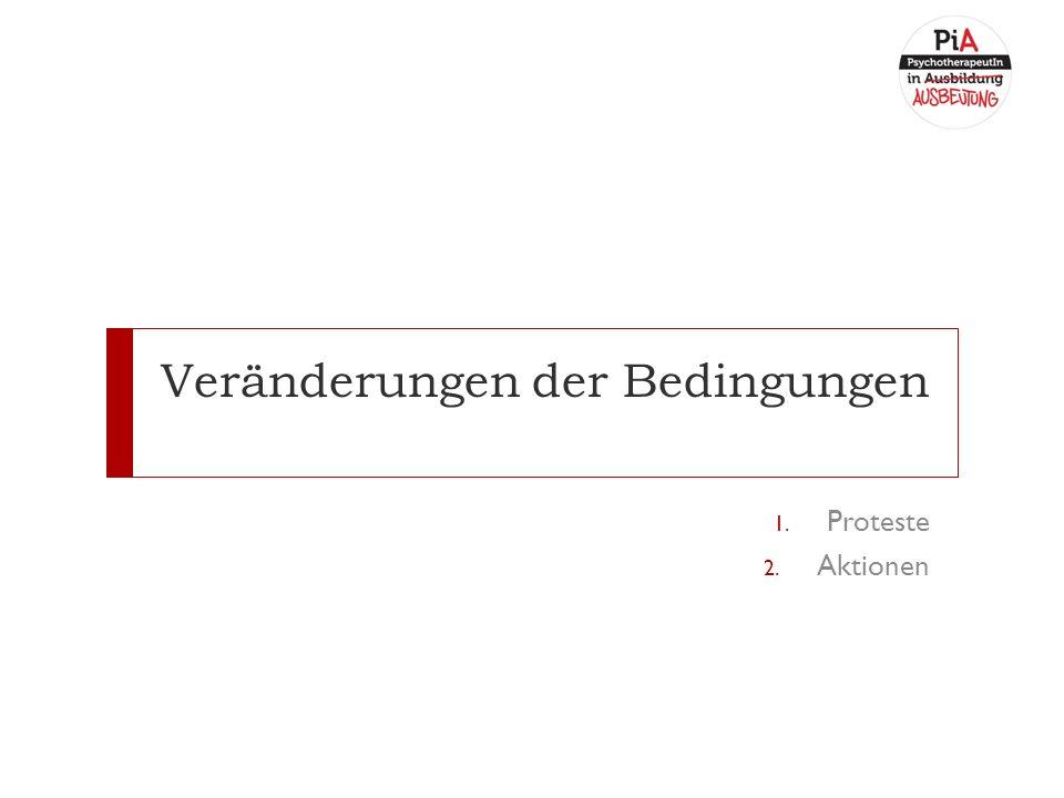 Veränderungen der Bedingungen 1. Proteste 2. Aktionen