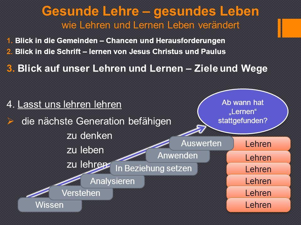 """Ab wann hat """"Lernen stattgefunden. 1. Blick in die Gemeinden – Chancen und Herausforderungen 2."""