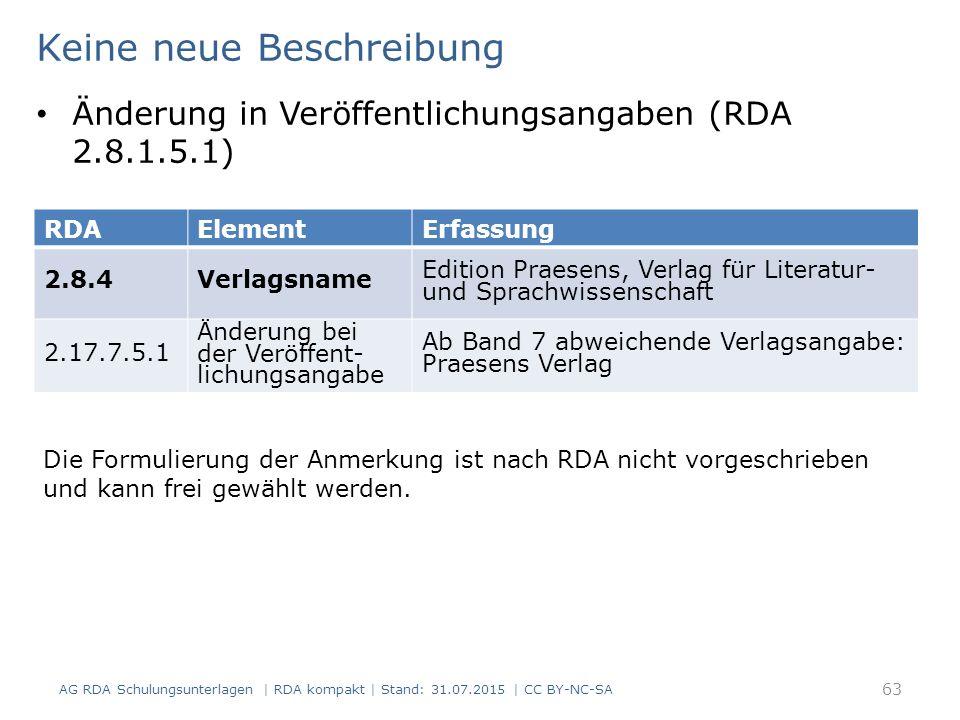 AG RDA Schulungsunterlagen | RDA kompakt | Stand: 31.07.2015 | CC BY-NC-SA 63 RDAElementErfassung 2.8.4Verlagsname Edition Praesens, Verlag für Literatur- und Sprachwissenschaft 2.17.7.5.1 Änderung bei der Veröffent- lichungsangabe Ab Band 7 abweichende Verlagsangabe: Praesens Verlag Keine neue Beschreibung Änderung in Veröffentlichungsangaben (RDA 2.8.1.5.1) Die Formulierung der Anmerkung ist nach RDA nicht vorgeschrieben und kann frei gewählt werden.
