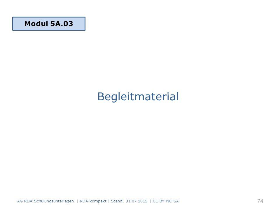 Begleitmaterial Modul 5A.03 AG RDA Schulungsunterlagen | RDA kompakt | Stand: 31.07.2015 | CC BY-NC-SA 74