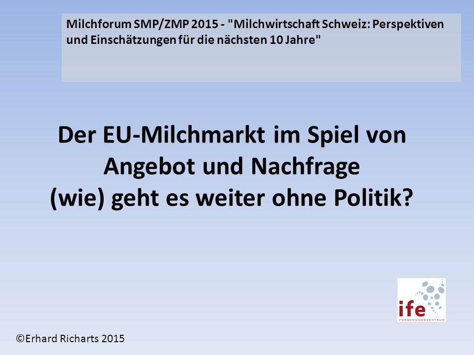 Der EU-Milchmarkt im Spiel von Angebot und Nachfrage (wie) geht es weiter ohne Politik? Milchforum SMP/ZMP 2015 -