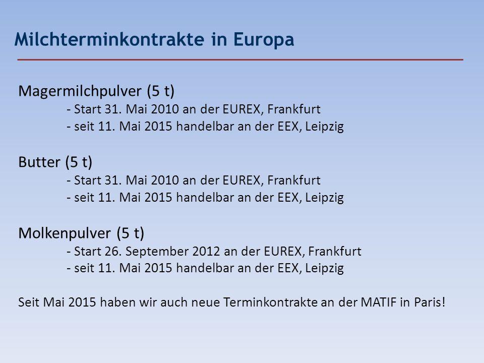 Milchterminkontrakte in Europa Magermilchpulver (5 t) - Start 31. Mai 2010 an der EUREX, Frankfurt - seit 11. Mai 2015 handelbar an der EEX, Leipzig B