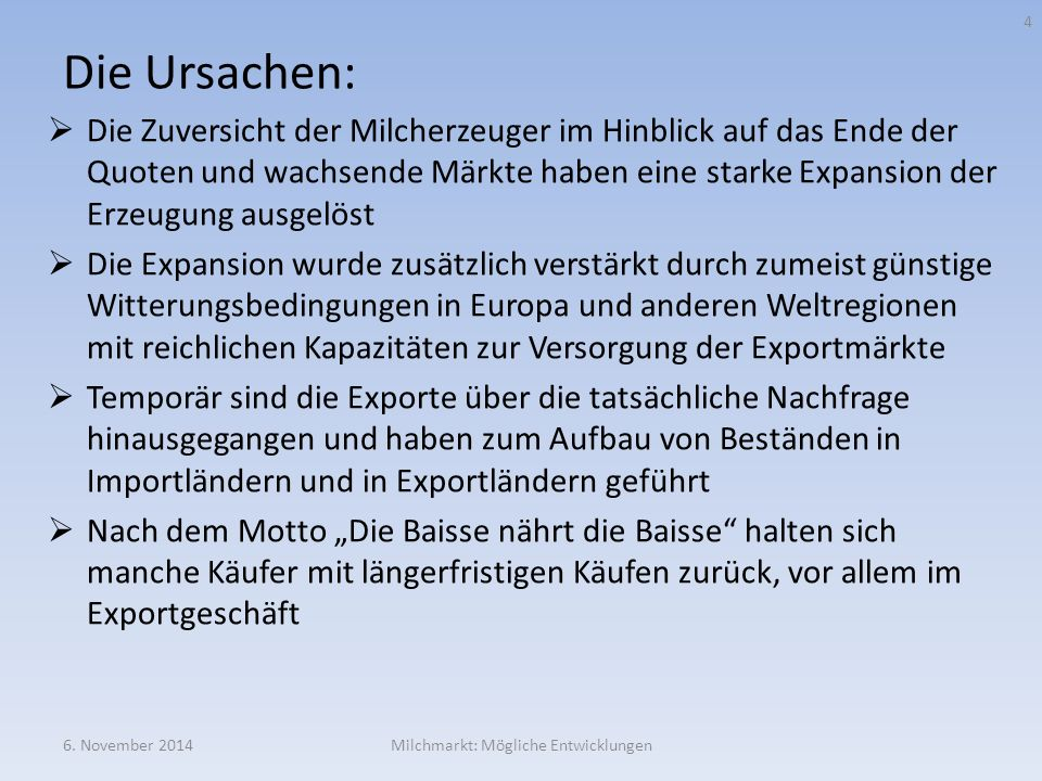 Mögliche Konsequenzen von TTIP am Beispiel des Buttermarktes 6.
