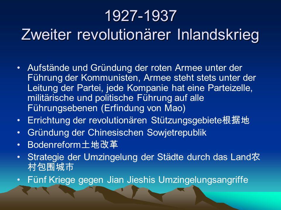 1927-1937 Zweiter revolutionärer Inlandskrieg Aufstände und Gründung der roten Armee unter der Führung der Kommunisten, Armee steht stets unter der Le