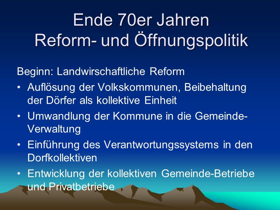Ende 70er Jahren Reform- und Öffnungspolitik Beginn: Landwirschaftliche Reform Auflösung der Volkskommunen, Beibehaltung der Dörfer als kollektive Ein