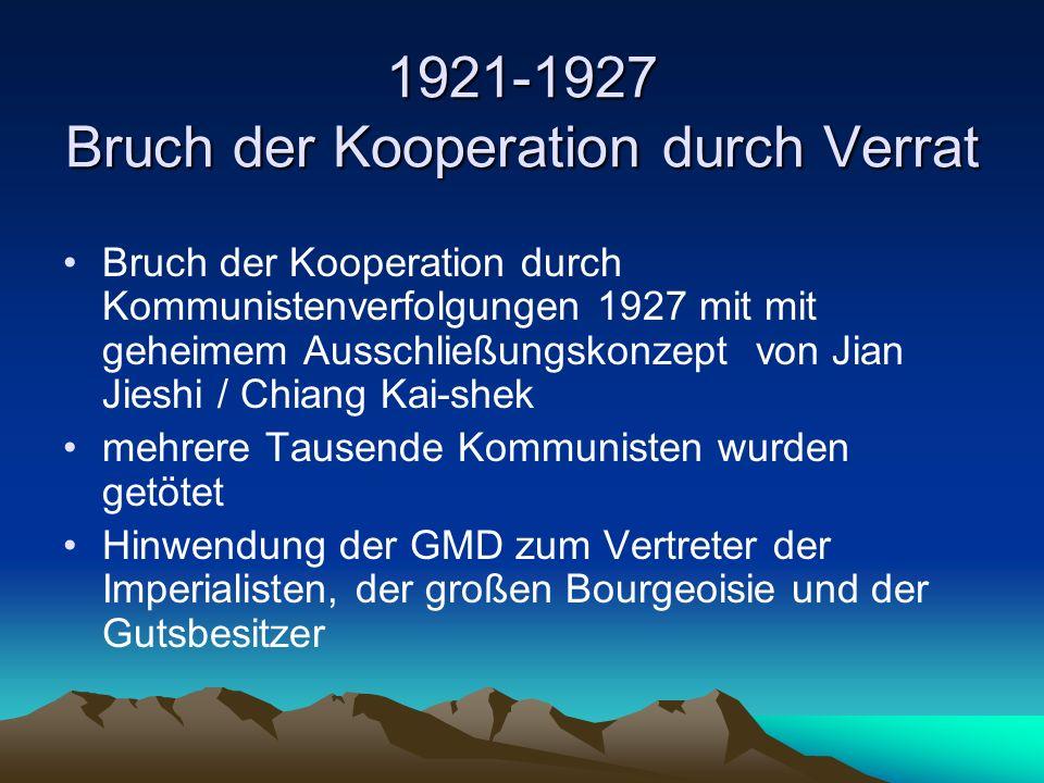 1921-1927 Bruch der Kooperation durch Verrat Bruch der Kooperation durch Kommunistenverfolgungen 1927 mit mit geheimem Ausschließungskonzept von Jian