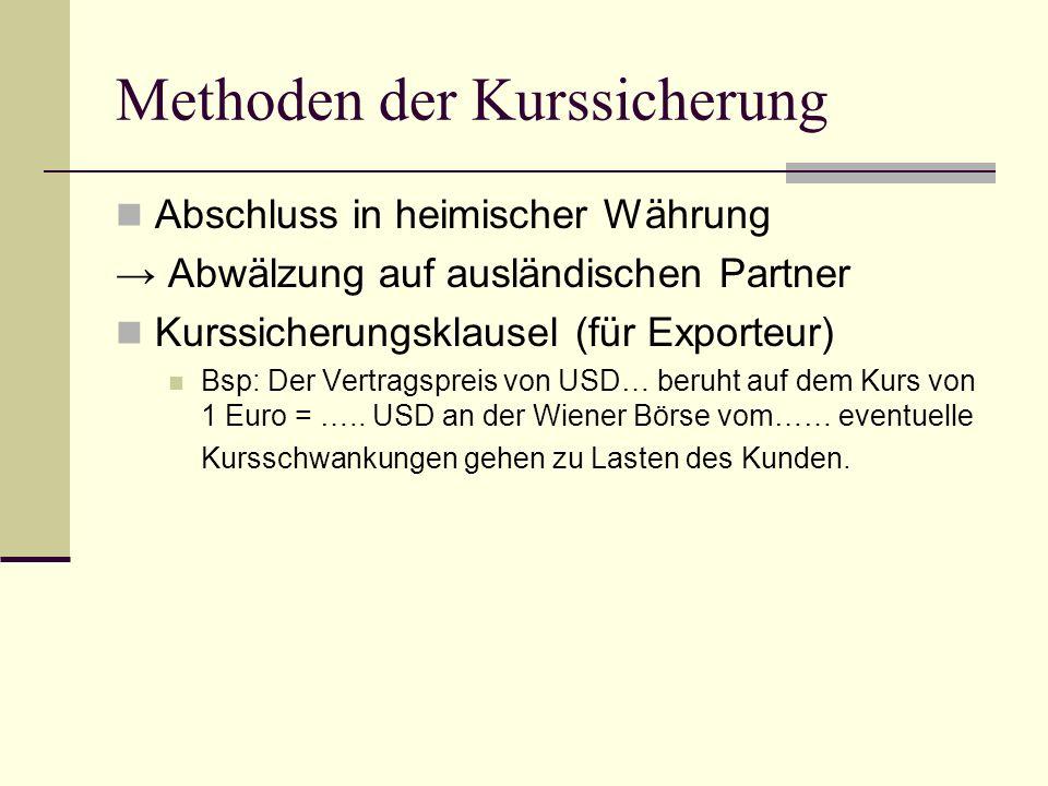 Methoden der Kurssicherung Abschluss in heimischer Währung → Abwälzung auf ausländischen Partner Kurssicherungsklausel (für Exporteur) Bsp: Der Vertra