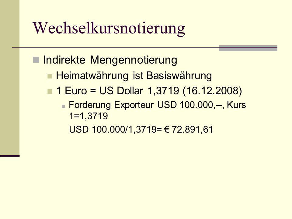 Methoden der Kurssicherung Devisentermingeschäft - Bsp Forderung Exporteur (3 Monate Ziel) USD 100.000 1 € = 1,3719 USD (Kassakurs 16.12.2008) Kurserwartung: steigender Kurs (höher als 1,3719), dann droht Kursverlust, daher Kurssicherung Exporteur verkauft 100.000.– USD heute per Termin 3 Monate, sichert sich Terminkurs (fixer Kurs für Umwechslung in 3 Monaten) Kosten: Gebühren und Spesen Opportunitätskosten (wenn der Kurs (USD) in den nächsten 3 Monaten fallen sollteentgeht der Kursgewinn)