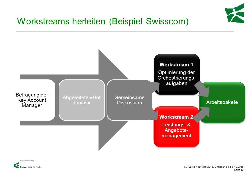 SV-Sales Heat Map 2015, Christian Belz, 8.10.2015 Seite 10 Workstreams herleiten (Beispiel Swisscom) Befragung der Key Account Manager Abgeleitete «Ho