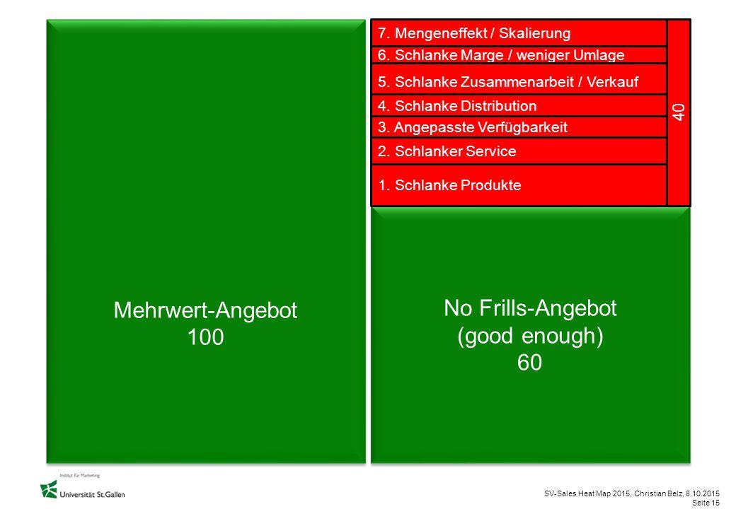SV-Sales Heat Map 2015, Christian Belz, 8.10.2015 Seite 15 Mehrwert-Angebot 100 Mehrwert-Angebot 100 No Frills-Angebot (good enough) 60 No Frills-Ange