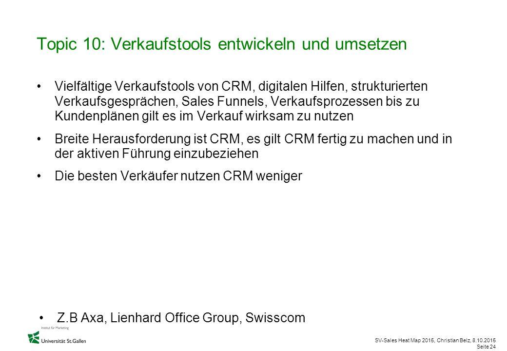 SV-Sales Heat Map 2015, Christian Belz, 8.10.2015 Seite 24 Topic 10: Verkaufstools entwickeln und umsetzen Vielfältige Verkaufstools von CRM, digitale