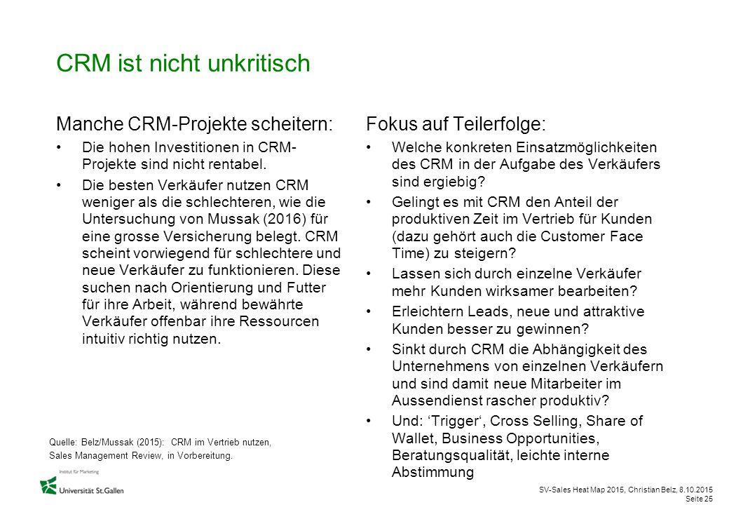 SV-Sales Heat Map 2015, Christian Belz, 8.10.2015 Seite 25 CRM ist nicht unkritisch Manche CRM-Projekte scheitern: Die hohen Investitionen in CRM- Pro