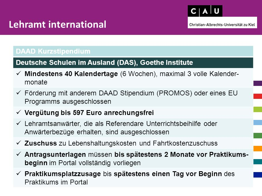 Freie Universität Berlin http://www.fu-berlin.de/sites/career/internationales/Auslandspraktikum/Allgemeine-Informationen/Erfahrungsberichte/index.html Ludwig-Maximilians Universität München http://www.s-a.uni-muenchen.de/studierende/praktikum/praktikumsberichte/index.html Kurt-Hansen-Stipendium http://www.bayer-stiftungen.de/de/kurt-hansen-stipendien.aspx Robert-Bosch-Stiftung-Lektorat http://www.bosch-stiftung.de/content/language1/html/13919.asp Robert-Bosch-Stiftung DeutschMobil http://www.bosch-stiftung.de/content/language1/html/936.asp Amity http://www.amity.org/ Schulweb http://www.schulweb.de/de/deutschland/index.html?region=de Projects Abroad http://www.projects-abroad.de/ Universität Koblenz https://www.uni-koblenz-landau.de/de/koblenz/fb2/anglistik-romanistik/fbg/staysabroad PASCH http://www.pasch-net.de/ Weltverband Deutscher Auslandsschulen https://www.auslandsschulnetz.de/wws/home.php?sid=23311059145340138443446284628270 Lehramt international Susan Brode, 880 1843, internships@uv.uni-kiel.de Sprechzeiten: Montag und Dienstag 13 – 15, Donnerstag 9 - 12