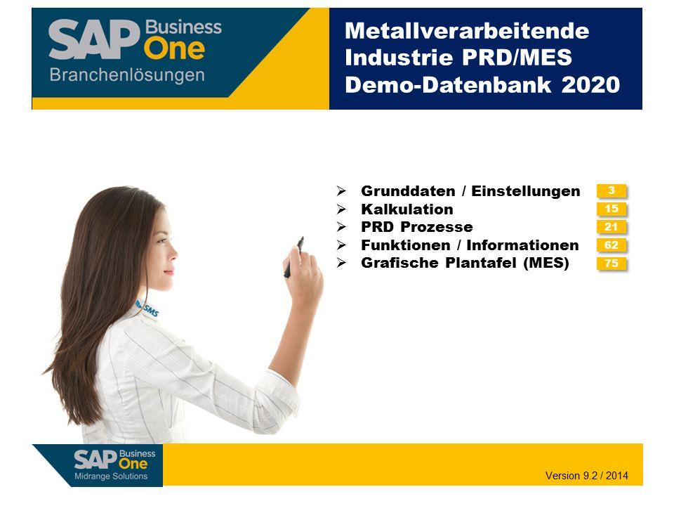 Metallverarbeitende Industrie PRD/MES Demo-Datenbank 2020  Grunddaten / Einstellungen  Kalkulation  PRD Prozesse  Funktionen / Informationen  Gra