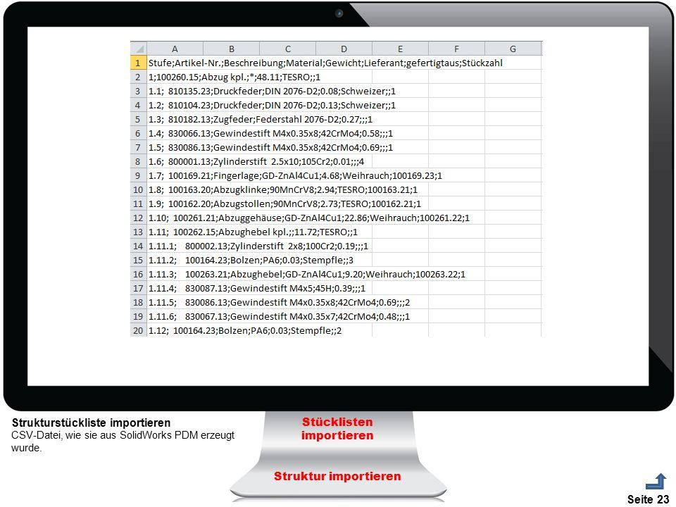 Seite 23 Strukturstückliste importieren CSV-Datei, wie sie aus SolidWorks PDM erzeugt wurde. Stücklisten importieren Struktur importieren
