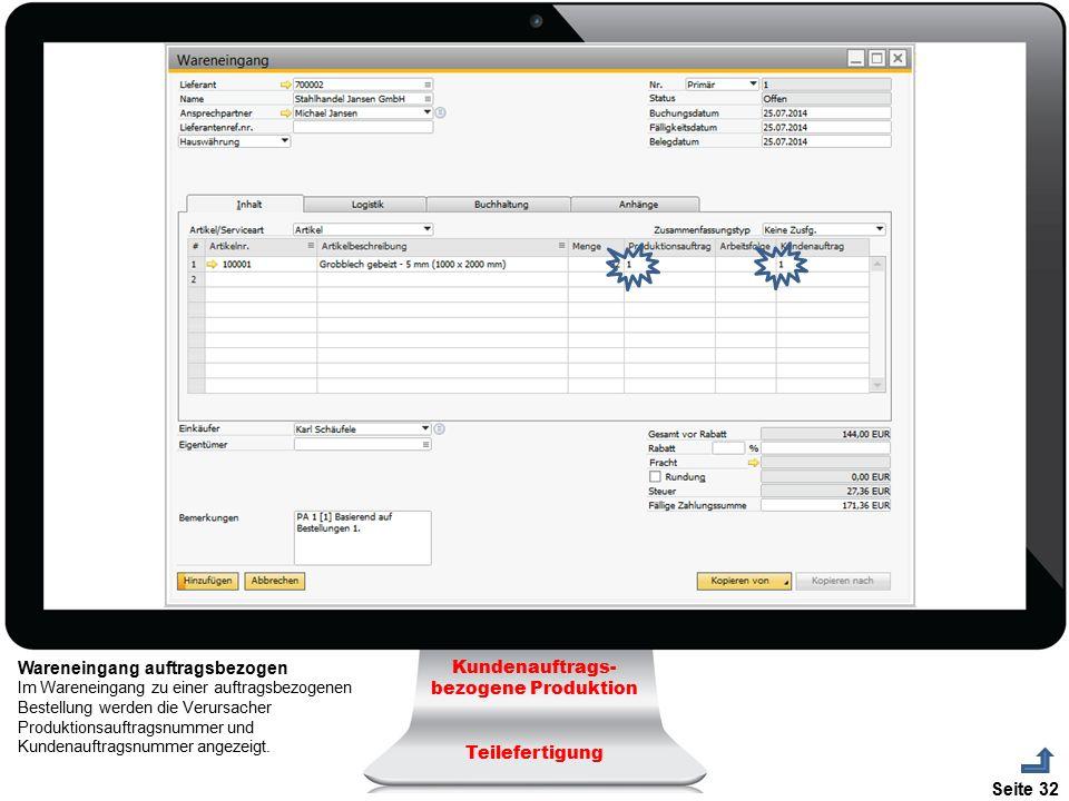 Seite 32 Wareneingang auftragsbezogen Im Wareneingang zu einer auftragsbezogenen Bestellung werden die Verursacher Produktionsauftragsnummer und Kunde
